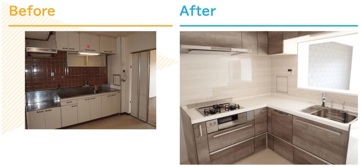 キッチンリフォームの施工事例クリナップ システムキッチン ラクエラ