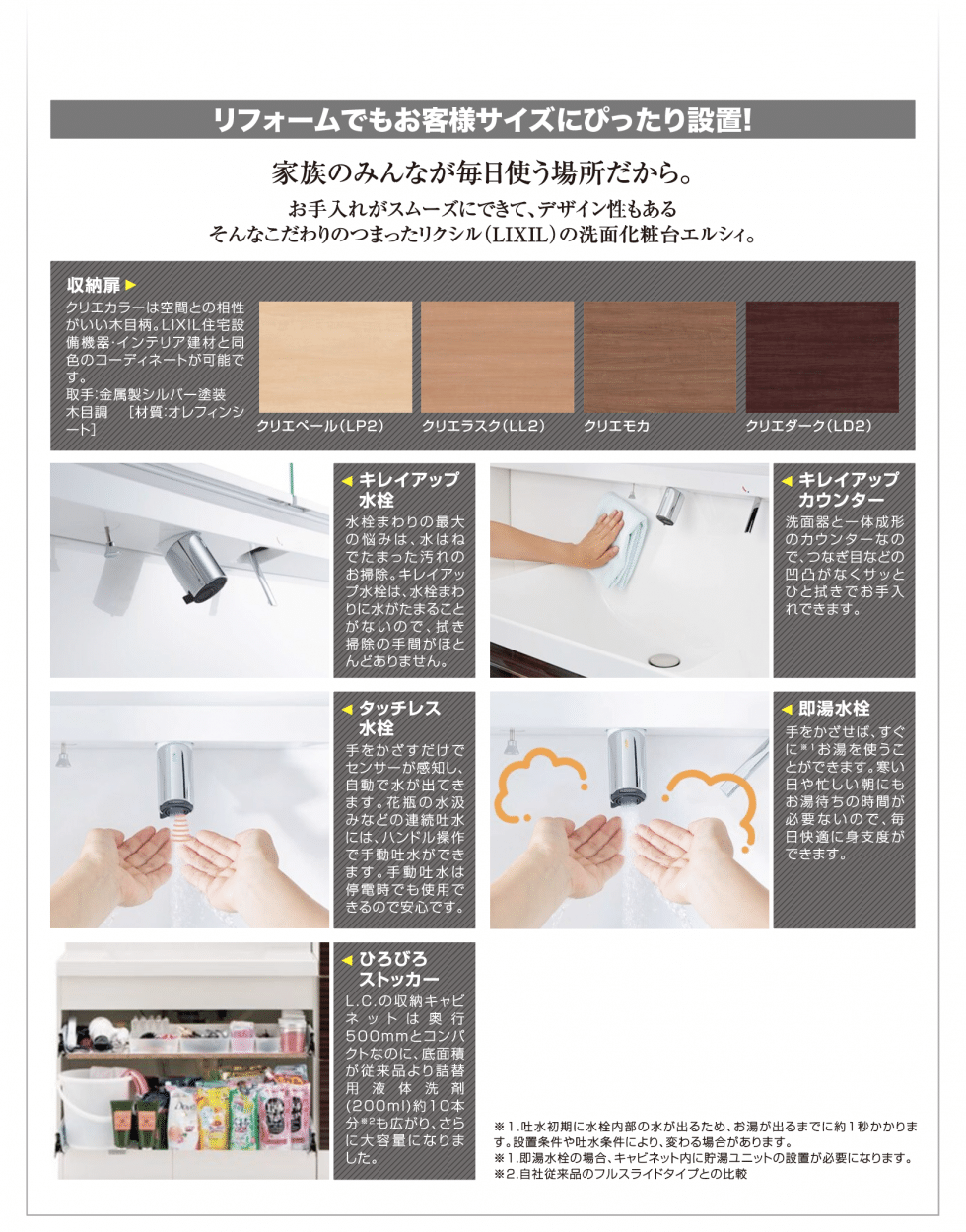 LIXILの洗面化粧台エルシィLCの便利機能