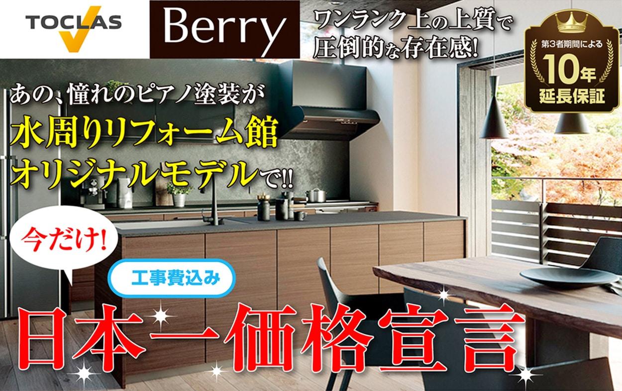 ピアノ塗装で人気のTOCLASトクラス キッチンBerryベリーが日本一価格宣言