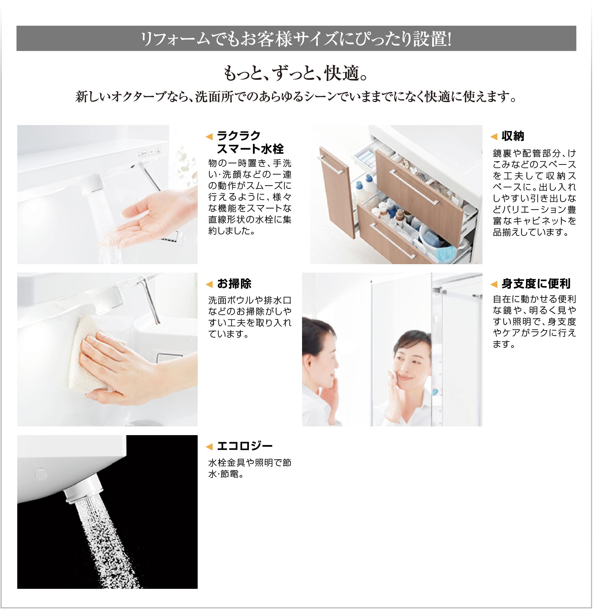 TOTO洗面化粧台Octaveはずっと快適。ラクラクスマート水栓など。